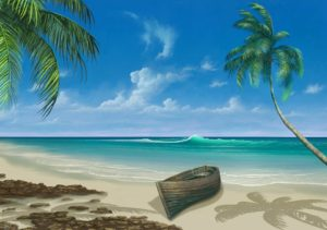 Vacation Paradise Sea Painting Beach Boat